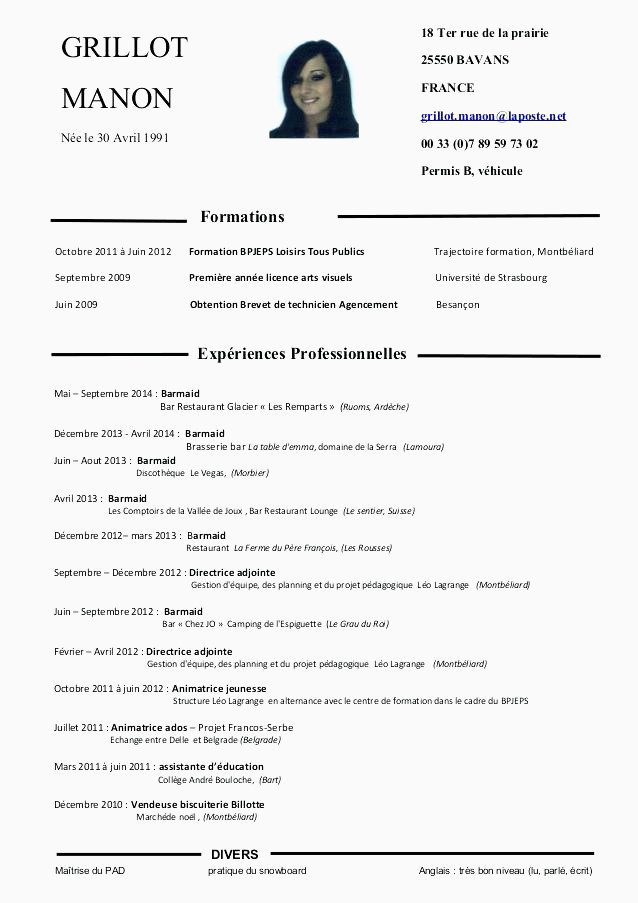 Cv Restauration Serveuse 15 Cv Barman
