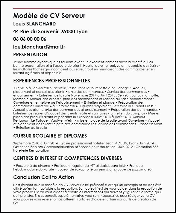 Cv Restauration Serveuse 36 Modele Lettre Motivation Serveuse