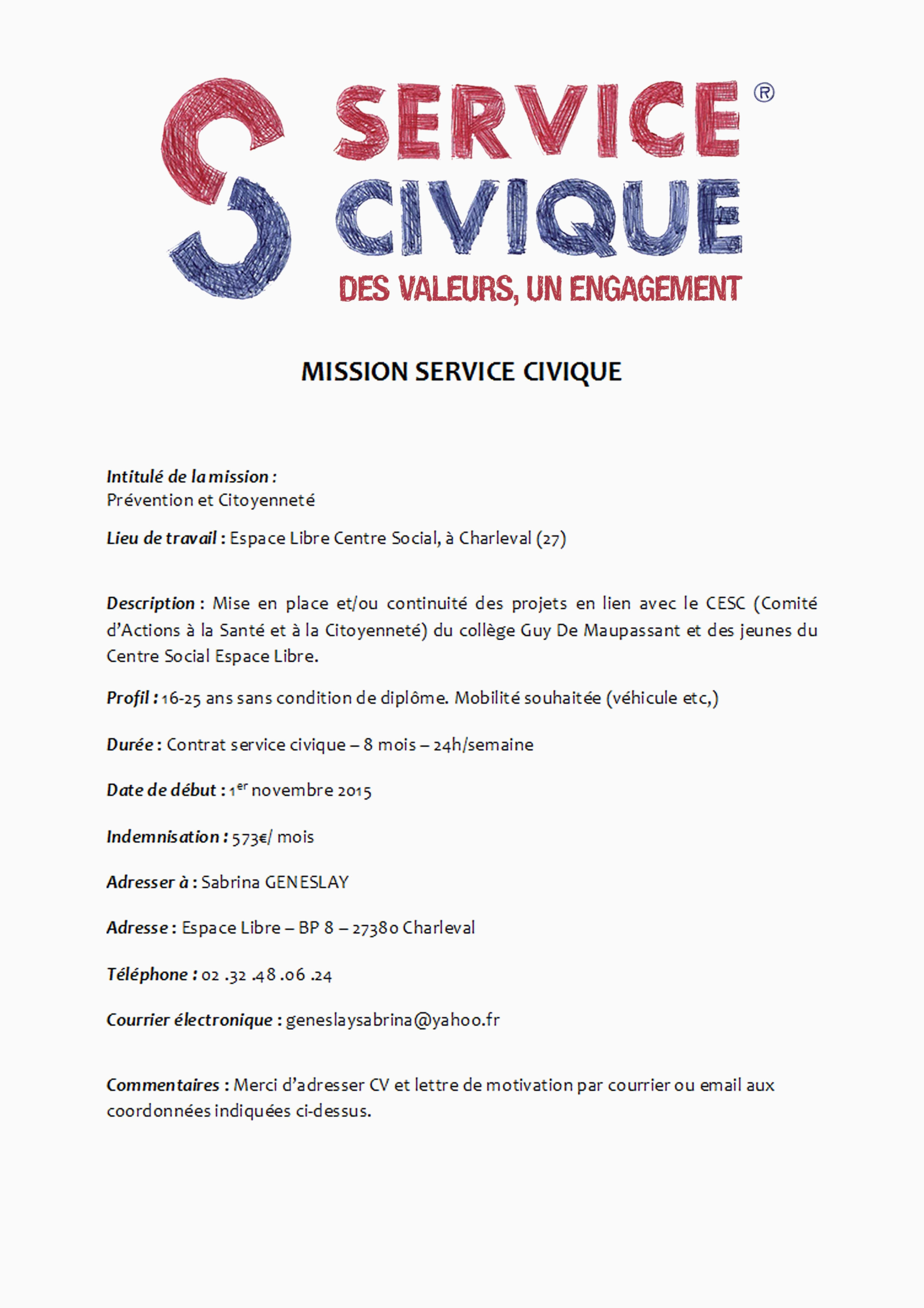 Exemple De Lettre De Motivation Service Civique 34 Modele Lettre De Demission Service Civique