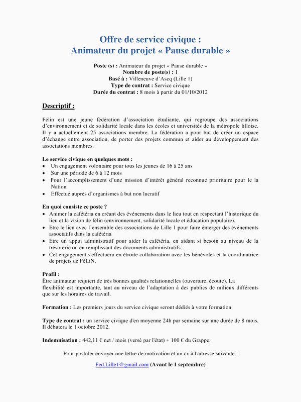 Exemple De Lettre De Motivation Service Civique 61 Meilleur De Collection De Lettre De Motivation Animateur Bafa