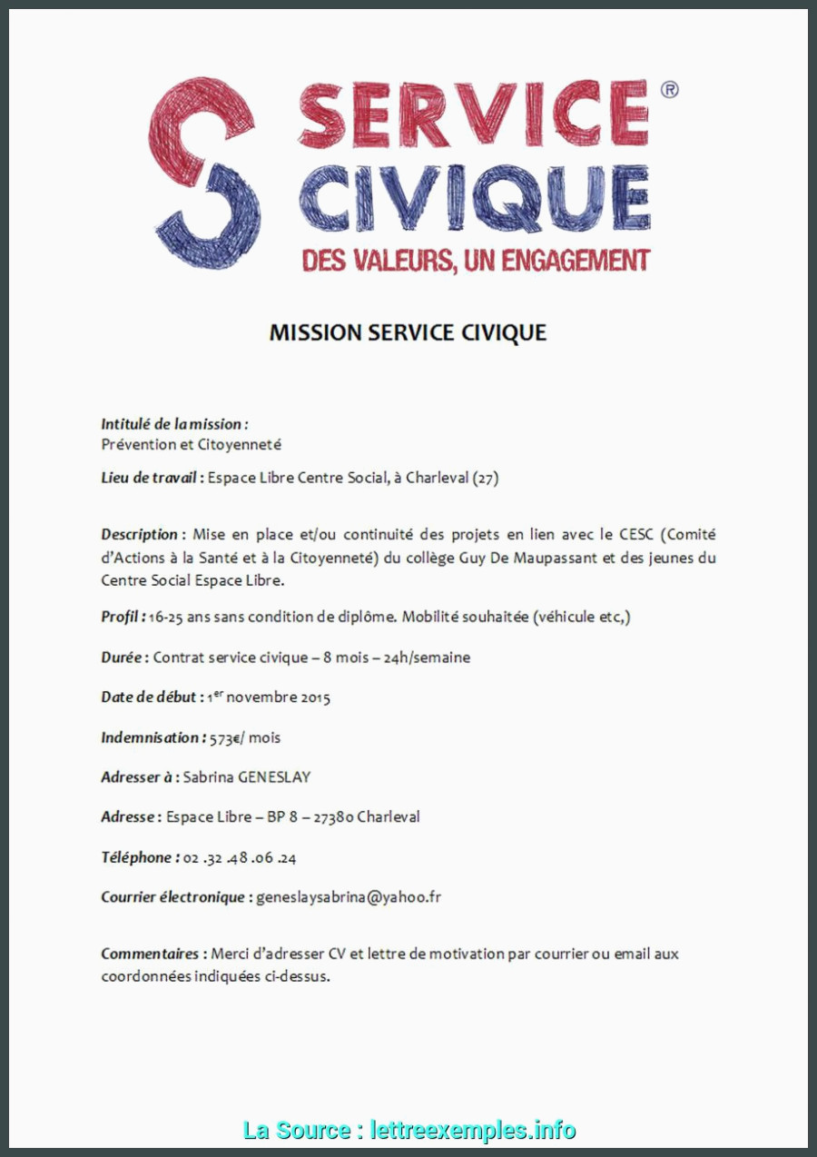 Exemple De Lettre De Motivation Service Civique De Valeur Exemple De Lettre De Demande De Service Civique Exemple De
