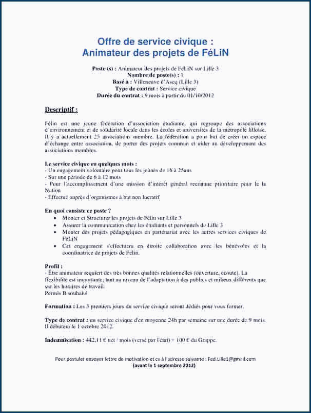 Exemple De Lettre De Motivation Service Civique Exemple Lettre De Motivation Service Civique Education Pour tous