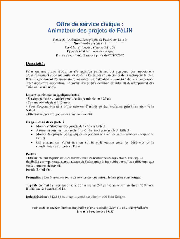 Exemple Lettre De Motivation Service Civique 15 Exemple Lettre De Motivation Animateur
