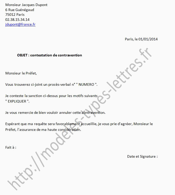 Lettre De Contestation D Amende 99 Exemple Lettre Contestation Pv