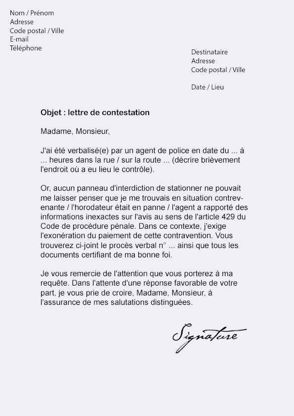 Lettre De Contestation D Amende Exemple De Qualit