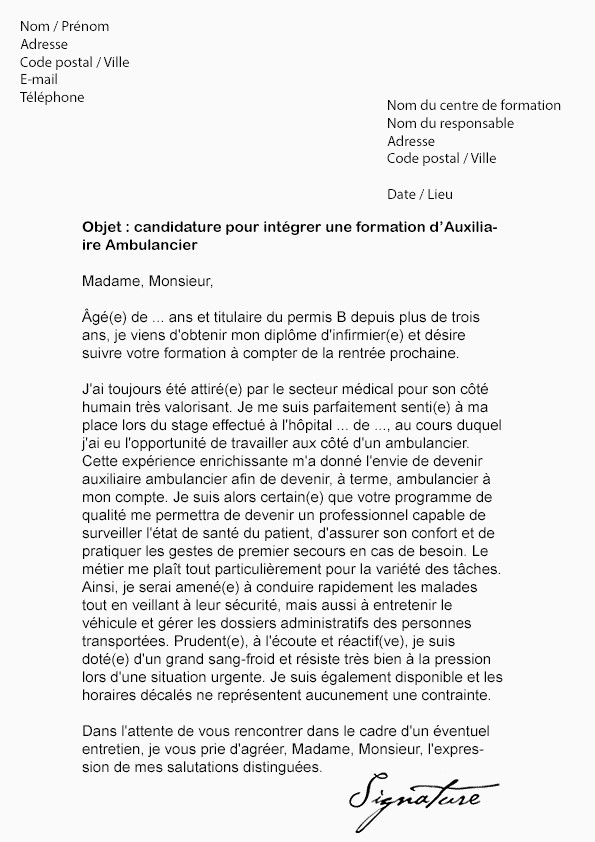 Lettre De Motivation Amp Exemple Lettre De Motivation Auxiliaire Ambulancier Débutant Exemple