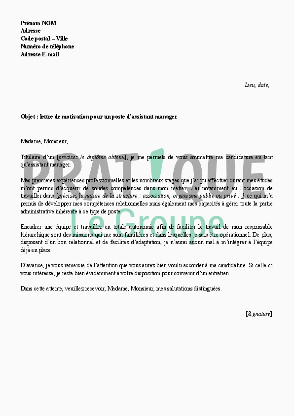 Lettre De Motivation assistant Education 10 Lettre De Motivation Pour Bts assistant Manager