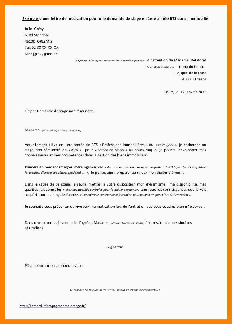 Lettre De Motivation Bts Profession Immobiliere Lettre De Motivation Pour Stage Exemple 28 Stage Cap Coiffure