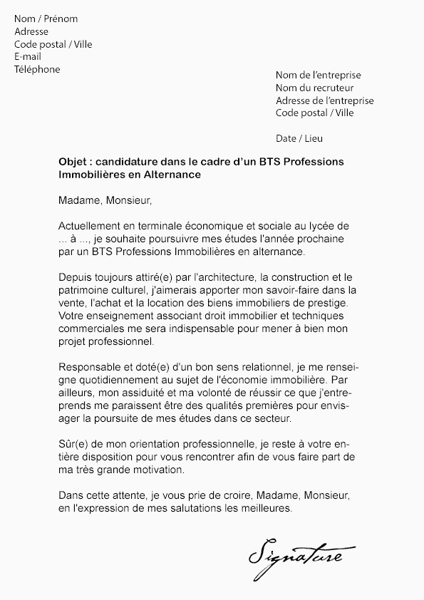 Lettre De Motivation Bts Profession Immobiliere Lettre De Motivation Rh Alternance Beau Lettre De Motivation Pour