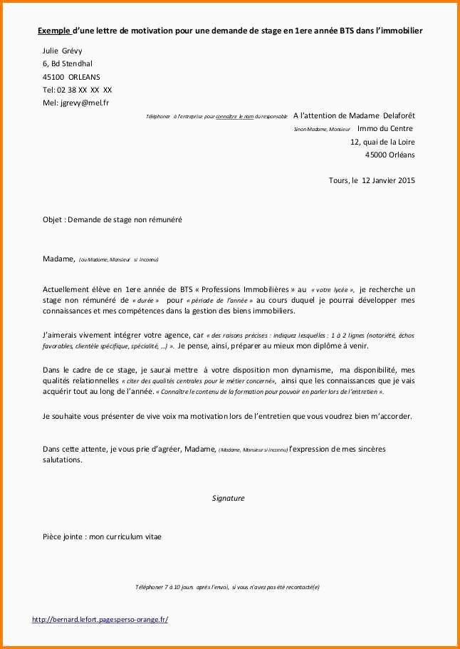 Lettre De Motivation Bts Profession Immobiliere Lettre De Stage Manqal Hellenes