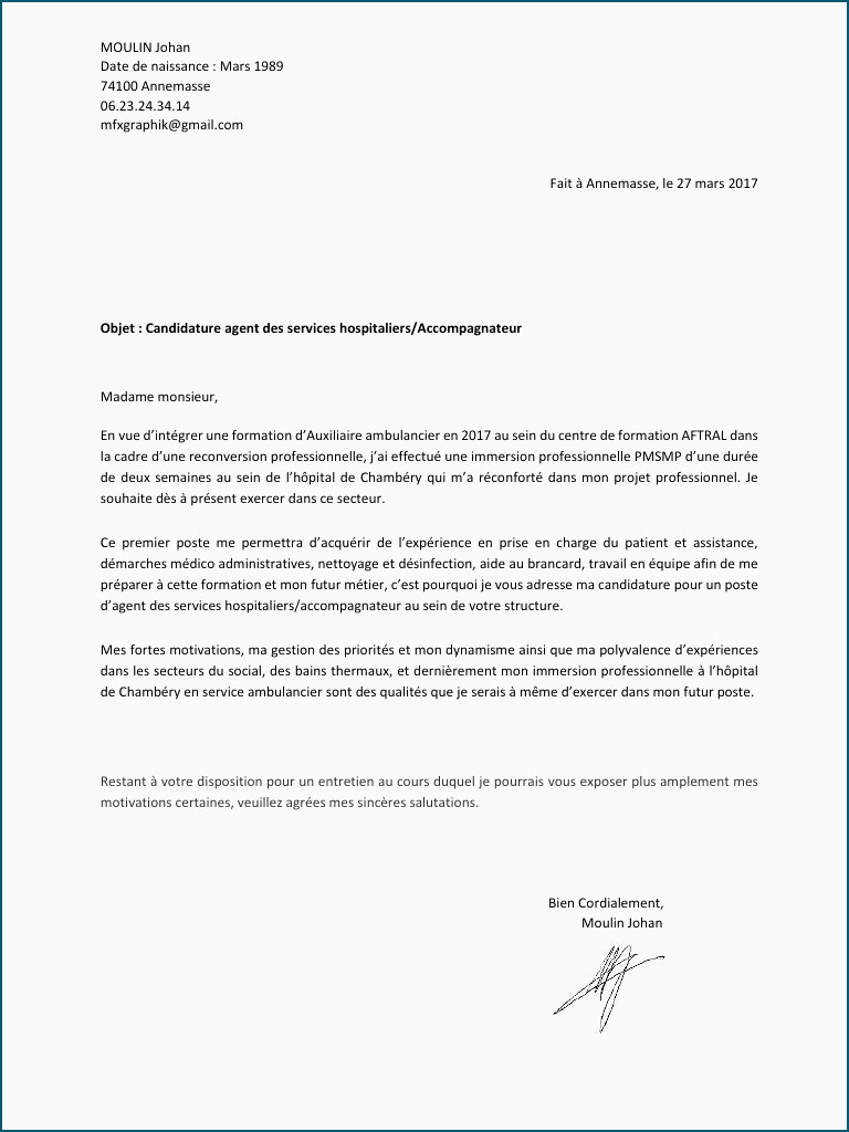 Lettre De Motivation Immersion Professionnelle Lettre De Motivation Auxiliaire Ambulancier De4 Lettre Motivation