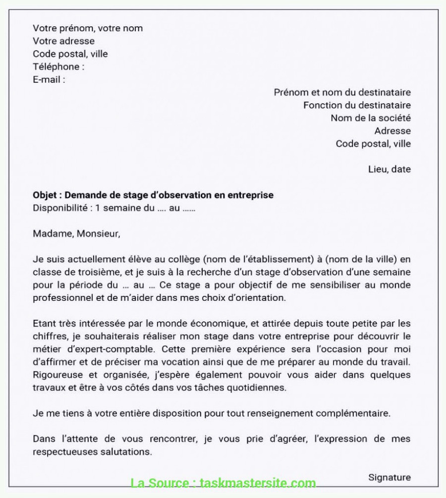 Lettre De Motivation Immersion Professionnelle Meilleur Lettre De Motivation Demande De Stage D Immersion 55