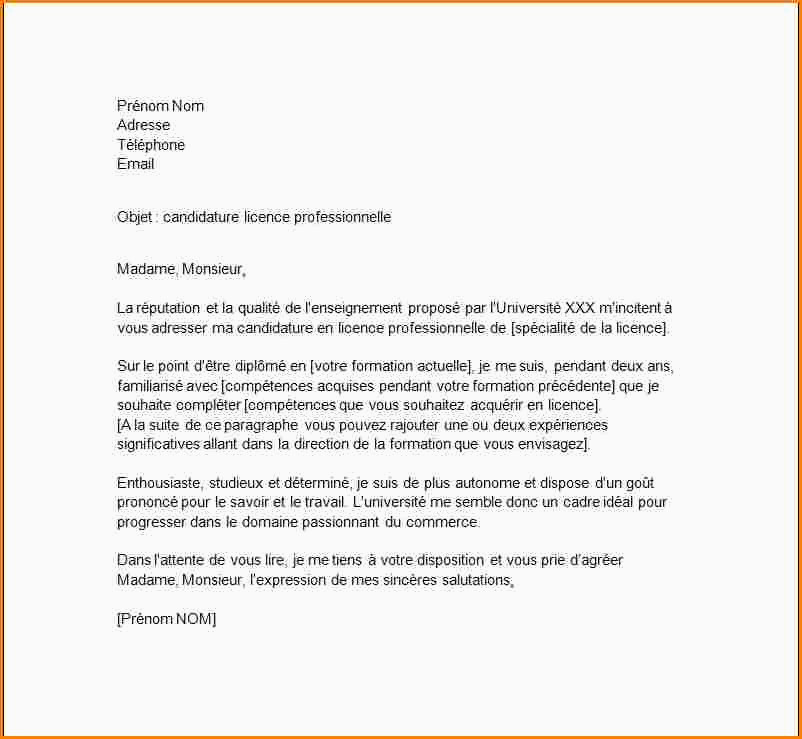 Lettre De Motivation Licence Pro Projet Professionnel: Lettre De Motivation Licence Pro 13 Lettre De Motivation