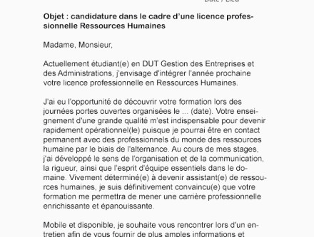Lettre De Motivation Licence Rh Alternance Aepp