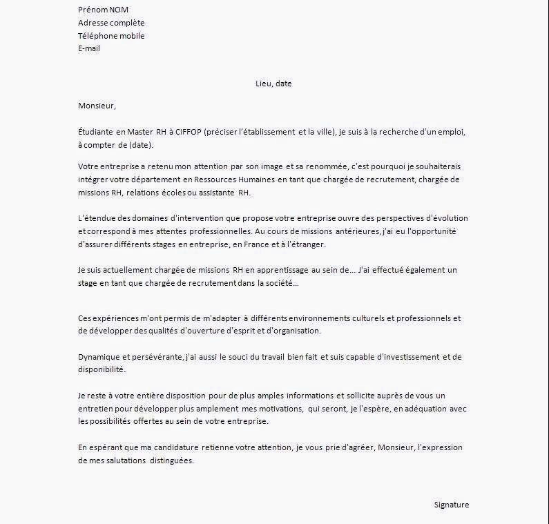 Lettre De Motivation Master Rh 25 Charmant Lettre De Motivation Cuisine Apprentissage