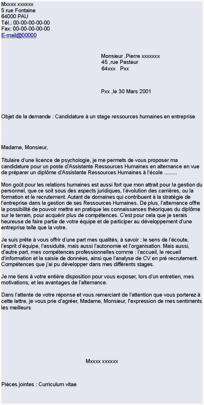 Lettre De Motivation Master Rh Exemple De Lettre De Motivation Alternance Lettre De Motivation