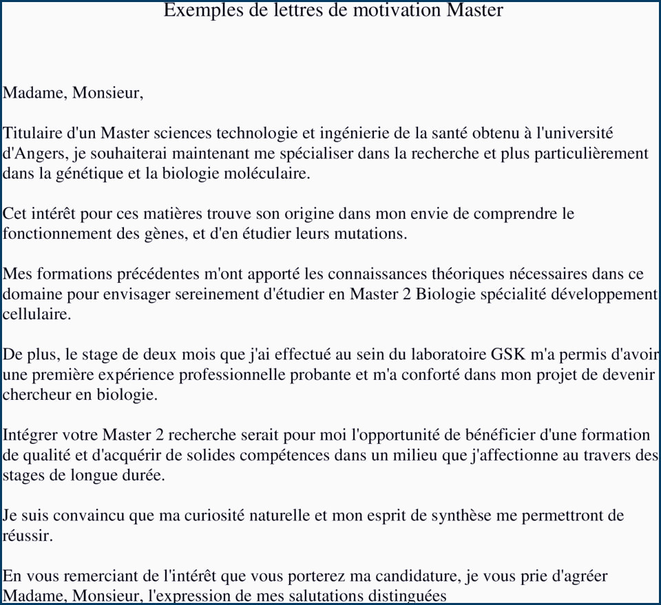 Lettre De Motivation Master Rh Lettre De Motivation Gea Beau Lettre De Motivation Directeur