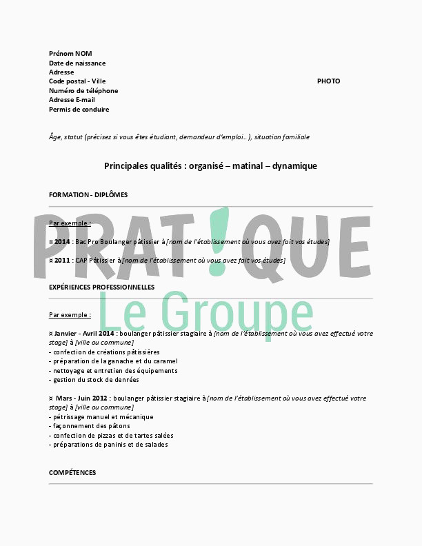 Lettre De Motivation Patissier Exemple Cv Boulanger Patissier De Base Modele De Cv Boulanger