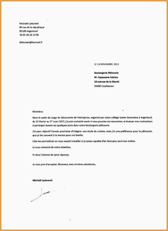 Lettre De Motivation Patissier Exemple Lettre De Motivation 3eme Cv Pour Stage 3eme Lettre De