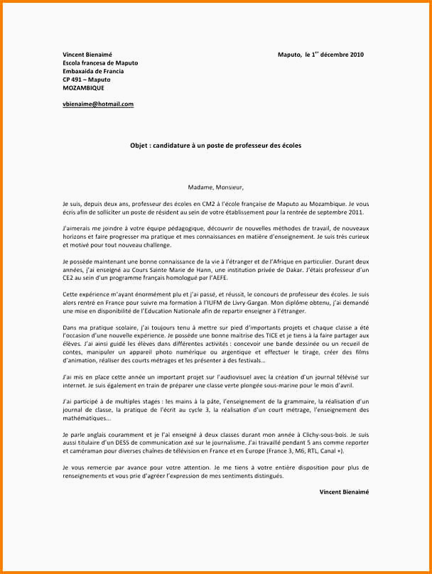 Lettre De Motivation College Prive 6eme Nouveau Lettre Motivation