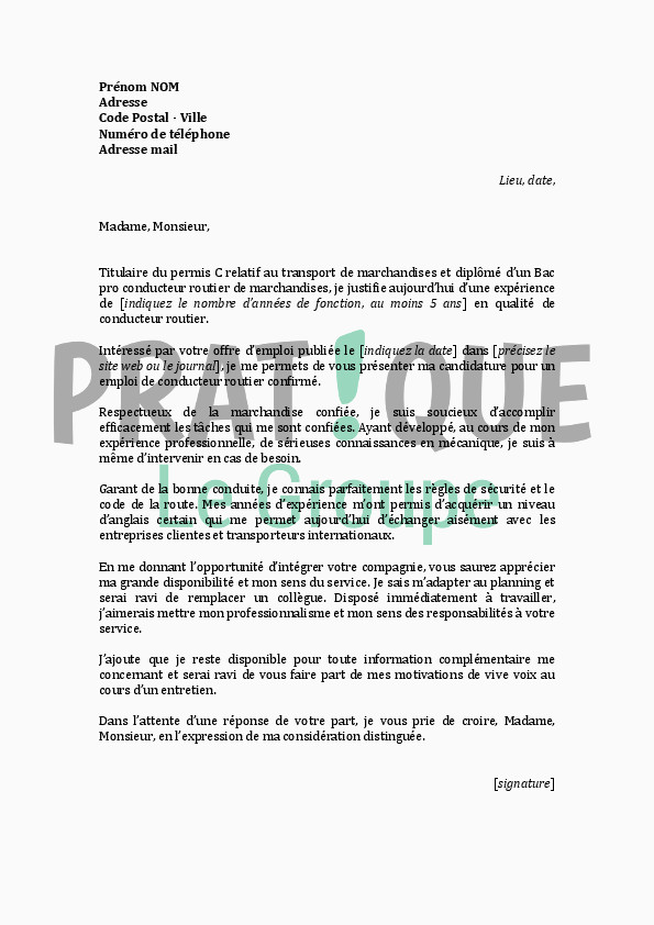 Lettre De Motivation Pour Un Service Civique Lettre Motivation Conducteur De Bus