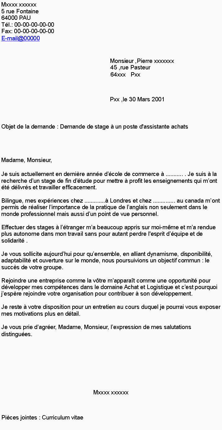 Lettre De Motivation Pour Un Service Civique Lettre Motivation Stage Fin D étude