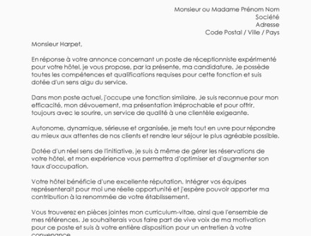Lettre De Motivation Receptionniste Hostal Dels Trabucayres
