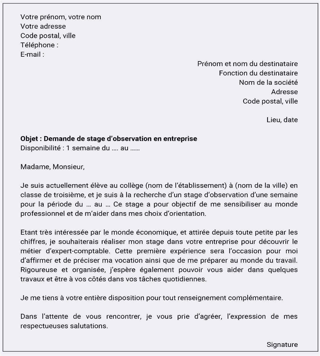 Lettre De Motivation Reconversion Professionnelle Mod¨le De Lettre De Motivation Pour Un Stage Professionnel