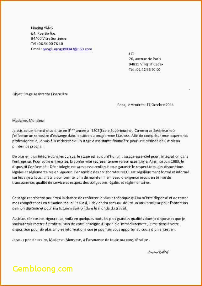 Lettre De Motivation Stage 3eme Commerce 14 Lettre Motivation Stage Informatique