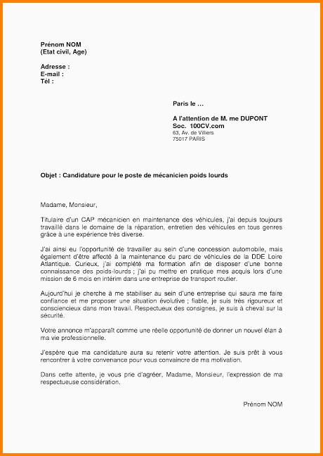 Lettre De Motivation Stage Mecanique Auto Lettre De Motivation Mecanicien Automobile Sans Experience – Maillot