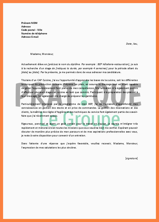 Lettre Motivation Restauration 15 Exemple Lettre De Motivation Restauration