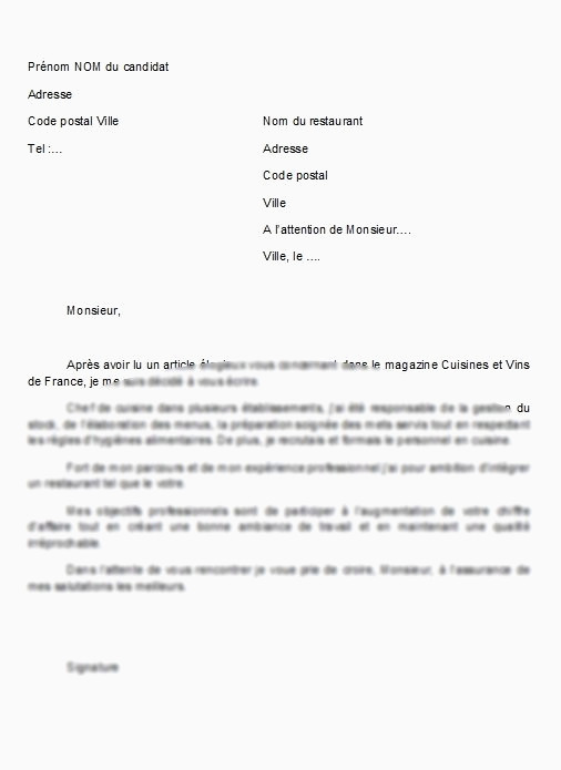 Lettre Motivation Restauration A Karim Cv