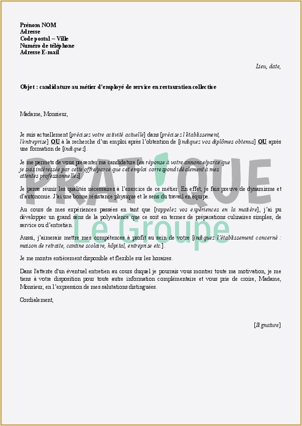 Lettre Motivation Restauration Lettre De Motivation Agent De Restauration