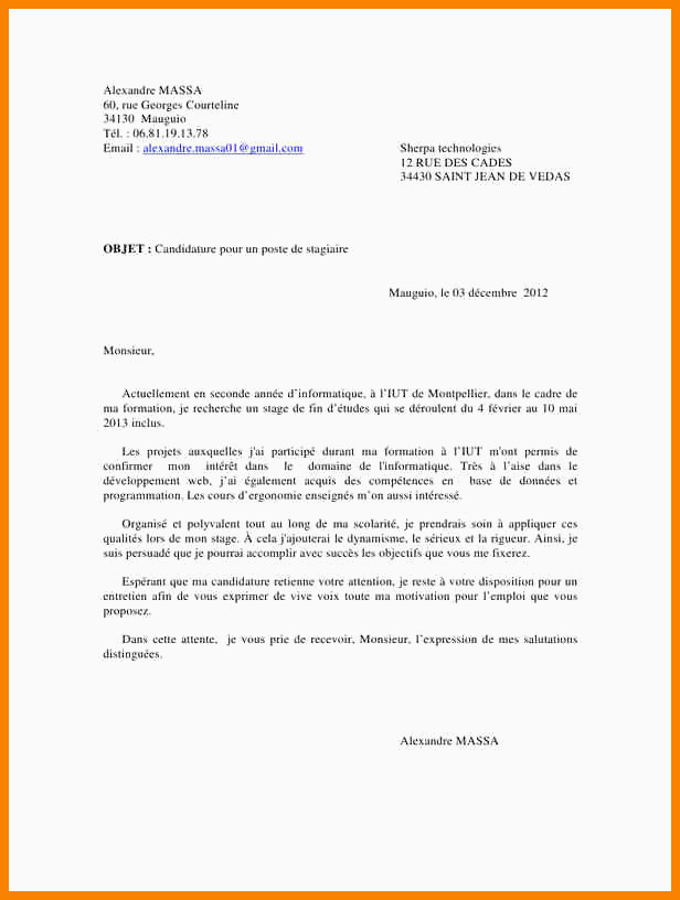 Lettre Motivation Stage Informatique Exemple Lettre De Motivation Stage Vendeuse Exemple Lettre De