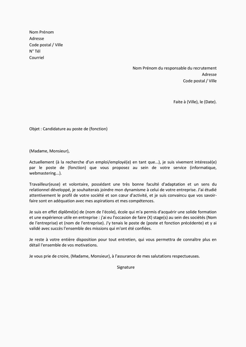 Modèle Courrier Administratif 14 Lettre Motivation Stage Informatique